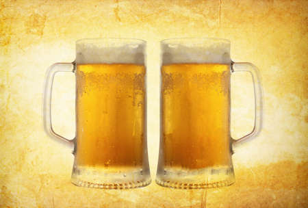 cold beer on vintage background photo