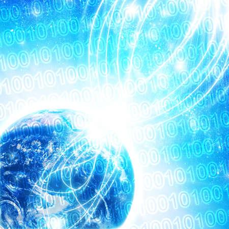 encrypted: Binary code on high technology backgroun Stock Photo