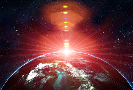 blue earth in space with rising sun Stock Photo - 12696401