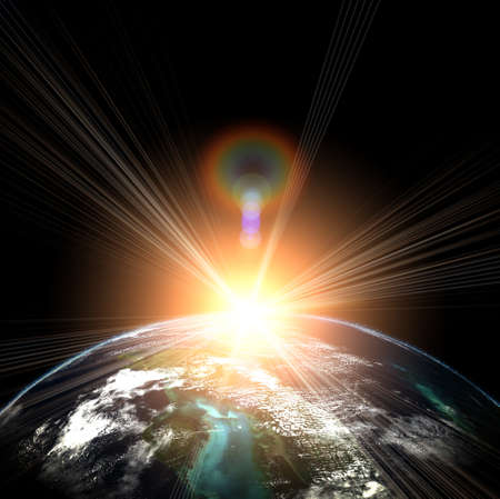 blue earth in space with rising sun Stock Photo - 12693094