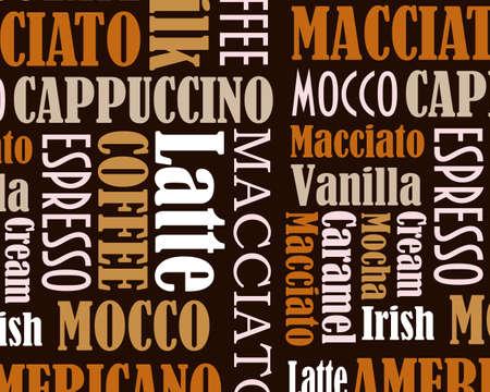 latte macchiato: sorts of coffee background