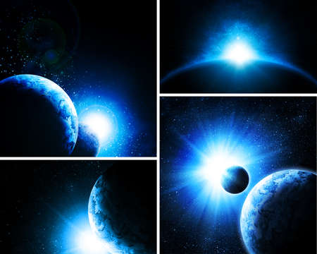 armageddon: collage of 4 pictures with planets
