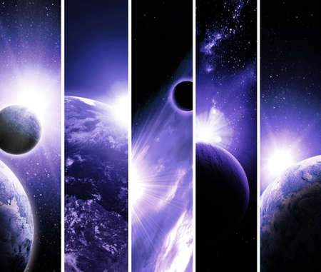 trek: collage of 5 pictures with planets