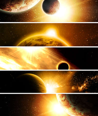 end of world: collage of 5 pictures with planets