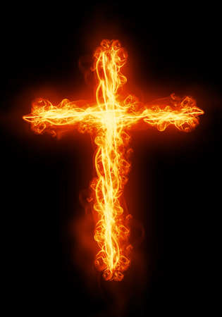 cross light: cross burning in fire Stock Photo