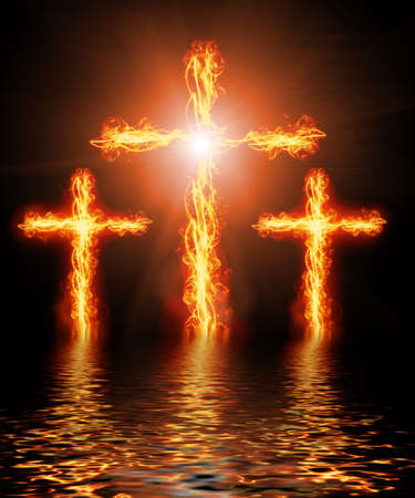 cross burning in fire photo