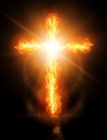 cruz roja: cruz en llamas en el fuego