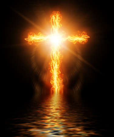 inferno: cross burning in fire Stock Photo