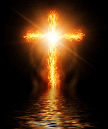 infierno: cruz en llamas en el fuego