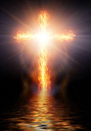 jesus illustration: cross burning in fire Stock Photo