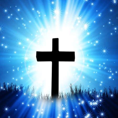 catholic symbols: cross on the blue background