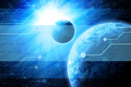 earth in space with technology elements photo