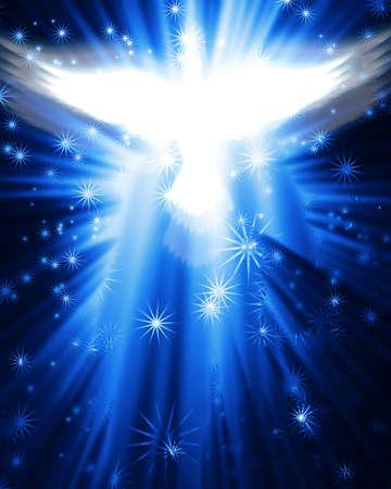 espiritu santo: paloma volando contra el brillante fondo de estrellas Foto de archivo
