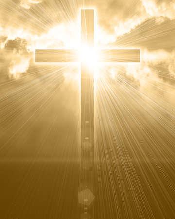 almighty: croce luminosa nel cielo Archivio Fotografico