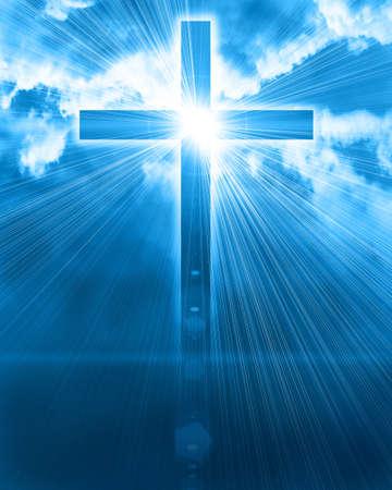 świecące krzyż na niebie