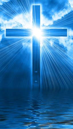 almighty: croce incandescente nel cielo Archivio Fotografico