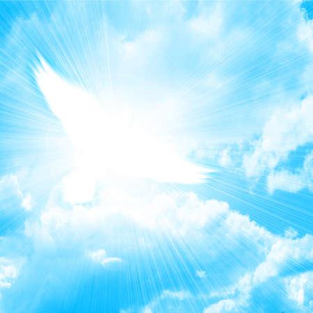 soar: paloma resplandeciente en un cielo azul