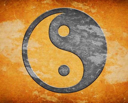 yan: Grunge yin yang symbol background