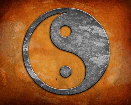 yin y yang: Grunge fondo símbolo yin yang