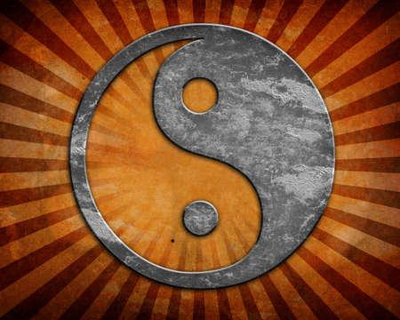 yin y yan: Grunge yin yang símbolo de fondo Foto de archivo