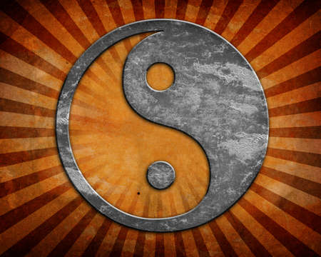 Grunge yin yang symbol background