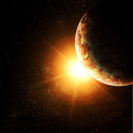 cosmo: planet against the sun in space