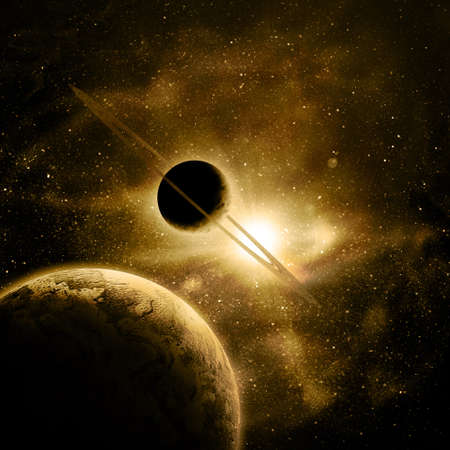 planets against the sun in space Stock Photo - 12695527