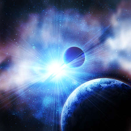 cosmo: planets against the sun in space