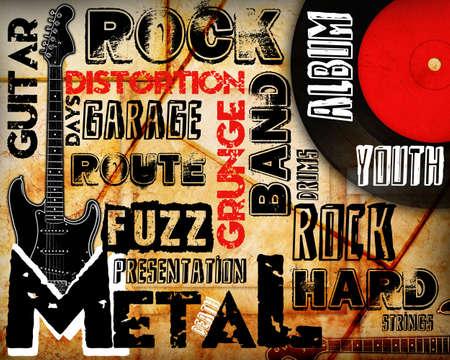 venue: Rock Music poster on grunge