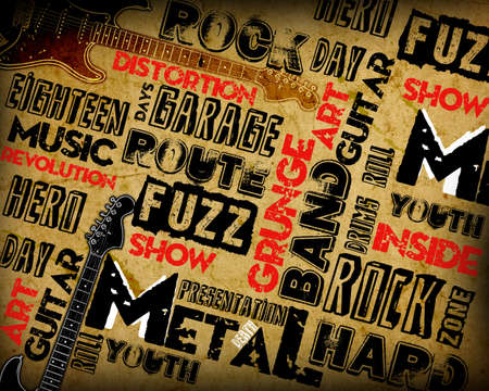 Rock Music poster on grunge Stock Photo - 12696842