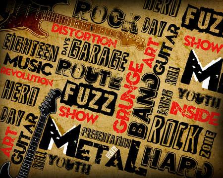 Rock Music poster on grunge Stock Photo - 12696842