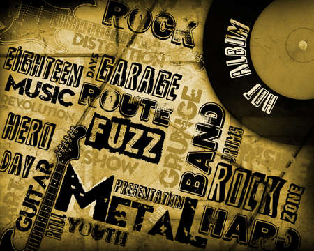 music event: Rock Music poster on grunge