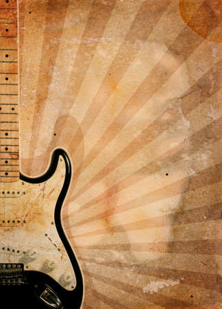 vintage musical background with guitar