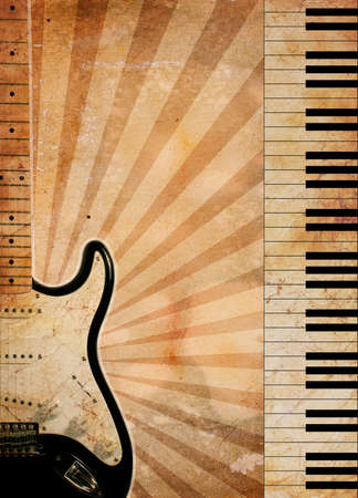 vintage musical background with guitar and piano photo
