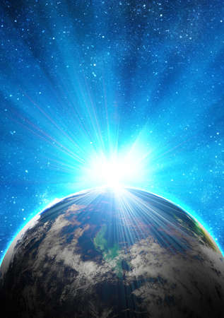 blue earth in space with rising sun Stock Photo - 12693237
