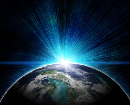 blue earth in space with rising sun Stock Photo - 12693586