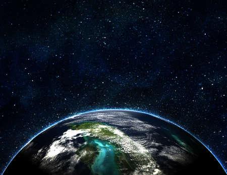 atmosfere: Blue Earth nello spazio con sole nascente