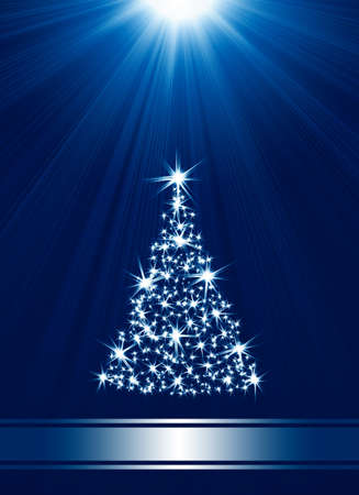 place for text: Christmas tree made of stars against blue background with place for text Stock Photo