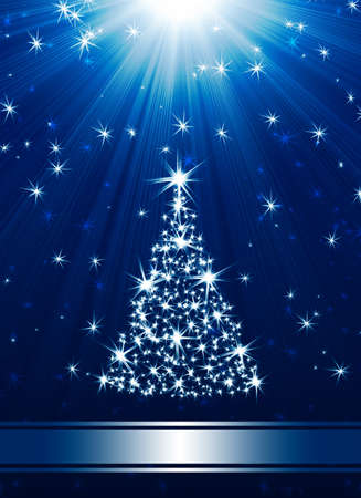 Christmas tree made of stars against blue background with place for text photo