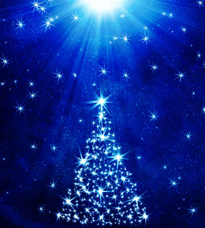 yule: Christmas tree made of stars with place for text Stock Photo