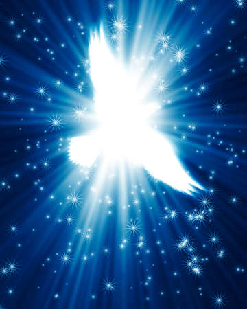 holy symbol: paloma volando contra el brillante fondo de estrellas Foto de archivo
