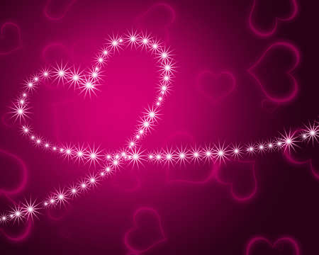 glowing heart shape with stars photo