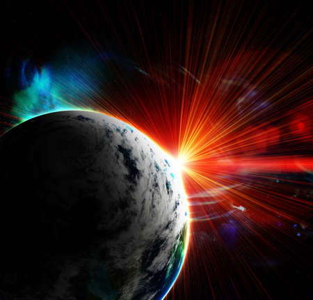 earth moving: red planet with a flash of sun, abstract background Stock Photo