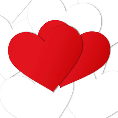 two red paper hearts over a heap of white paper hearts photo