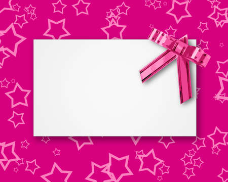 blank postcard tied with a bow of pink ribbon on a pink background with hearts photo