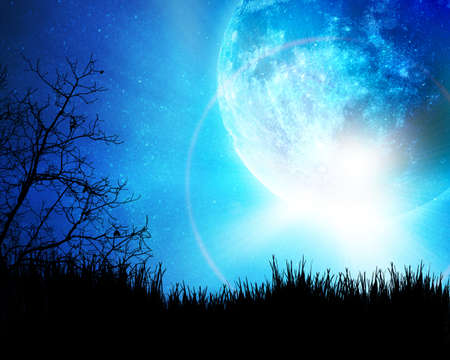 Blue night with moon background photo
