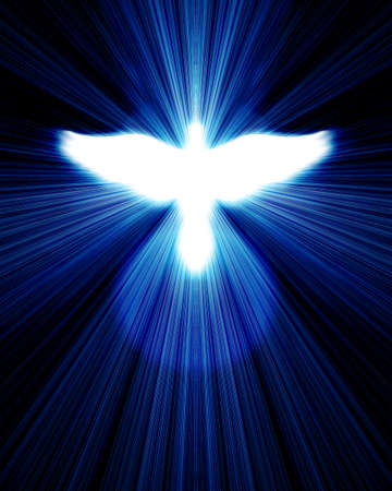 cristo: glowing dove against blue rays