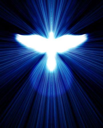 espiritu santo: paloma, que brilla intensamente contra los rayos azules