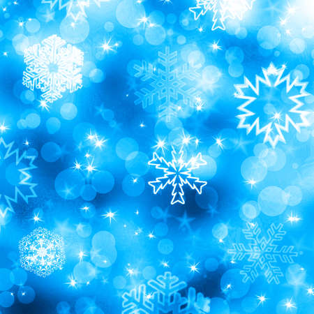 Christmas background with white snowflakes and stars photo