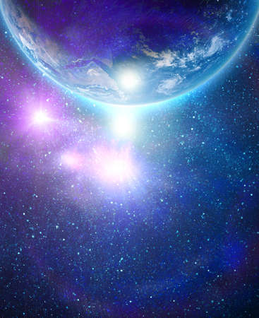 blue earth in space with rising sun Stock Photo - 12694849
